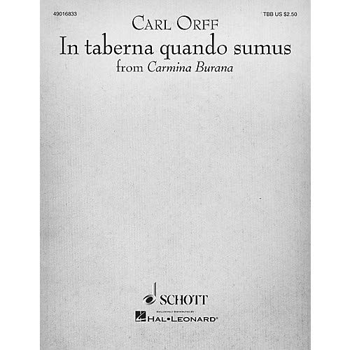 In Taberna Quando Sumus (for TTB and Piano) TBB Composed by Carl Orff, Pack of 3