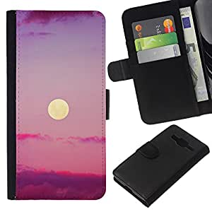All Phone Most Case / Oferta Especial Cáscara Funda de cuero Monedero Cubierta de proteccion Caso / Wallet Case for Samsung Galaxy Core Prime // Purple Sunset Clouds Nature Sky Summer