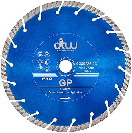 230 mm Disco de corte de diamante DTW Pro Universal GP Turbo Segment