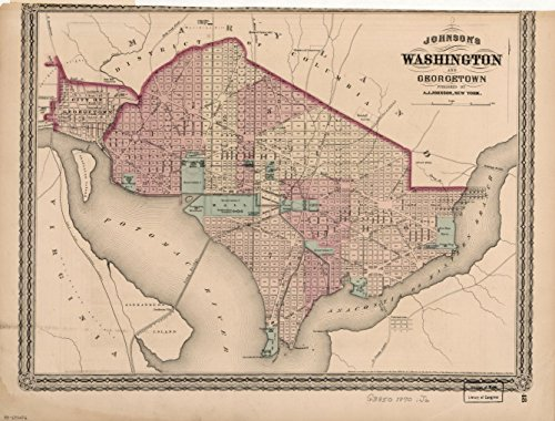 d Vintage Antique Map of: c.1870 Johnson's Washington and Georgetown. m2581 ()