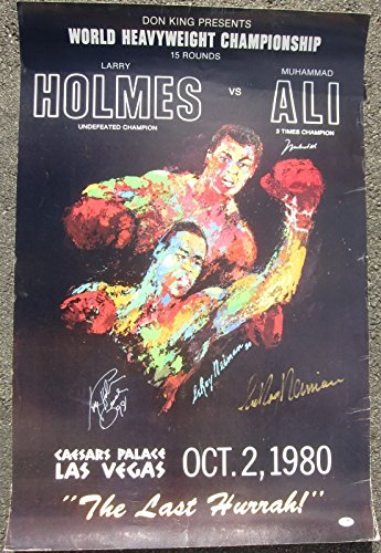 Muhammad Ali Larry Holmes LeRoy Neiman 3x signed 1980 Fight Poster PSA/DNA ()