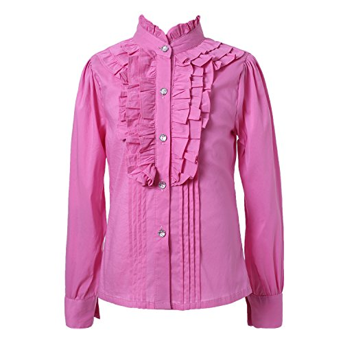 ls' Classic Sweet Blouse with Ruffled Collar RH1570-C-8/9 (Nylon Ruffled Blouse)