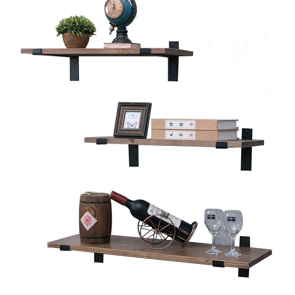 Rustic Floating Wood Shelves Wall Mounted,Industrial Black Metal Wall Shelf 23.6in,Hanging Shelving Brackets with Lip,for Bedroom Kitchen Farmhouse Decor