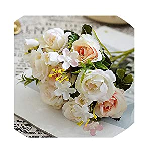 Sevem-D New Artificial Small Roses Flower Bouquet Decorative Silk Flowers Table Arrange for Wedding Home Party,B 111