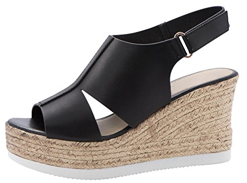 Cambridge Select Women's Peep Toe Side Cutout Velcro Slingback Espadrille Platform Wedge Sandal (7 B(M) US, Black)