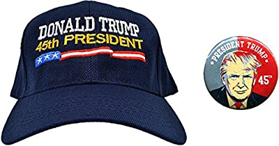 Donald Trump 45th President Navy Hat and Button Combo