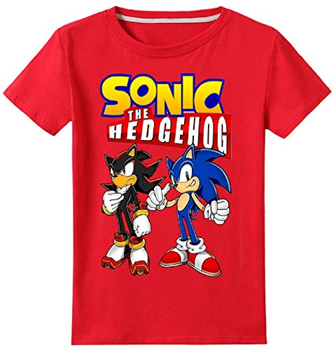 Boys' Sonic The Hedgehog Short Sleeve Cotton T-Shirt Youth Tee for 2-13Years Boys(Red, 6T)