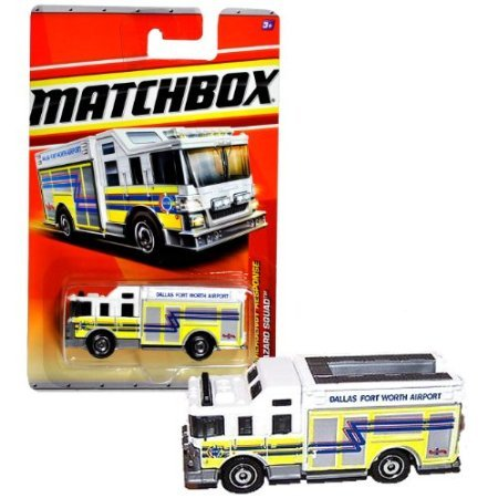Mattel Year 2010 Matchbox MBX Emergency Response Series 1:64 Scale Die Cast Car #51 - Dallas Fort Worth Airport White Color HAZARD SQUAD Fire Truck - Dallas Usa Airport