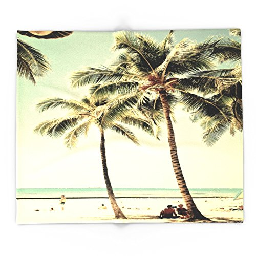Society6 Retro Vintage Palm Tree With Hawaii Summer Sea Beach 88'' x 104'' Blanket by Society6