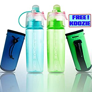 Spray Drinking Water Bottle Mister 20 oz BPA Free Gym Cycling Sports Outdoors + FREE Neoprene Koozie (Green)
