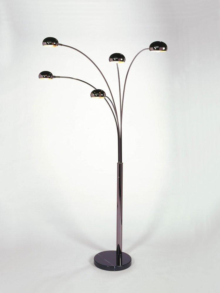 NOVA of California 4035 Mushroom Contemporary 5 Light Arc Lamp, 85-Inch High, Black Nickel Marble