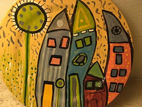 USA handmade artist inspired by Susan Schanerman dinner size funky art deco folk art plate