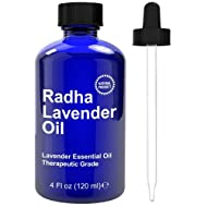 Radha Beauty Lavender Essential Oil 4 oz. - 100% Natural & Therapeutic Grade, Steam Distilled for Aromatherapy, Relaxation, Sleep, Laundry, Stress & Anxiety Relief, Meditation, Massage, Headaches