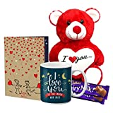 LOF Valentine Cute Teddy Gift, beautiful Red Teddy Combo For Girlfriend, Boyfiend,A4 Greeting With Mug Special Husband,Wife Valentine's Day Gift combo024