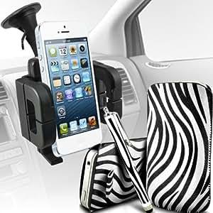 Samsung I8190 Galaxy S3 mini Protección Premium de Zebra PU tracción Piel Tab Slip Cord En cubierta de bolsa Pocket Skin rápida Con Matching Large Stylus pen & Soporte universal de la succión del parabrisas del coche Vent Cuna Blanco y Negro por Spyrox