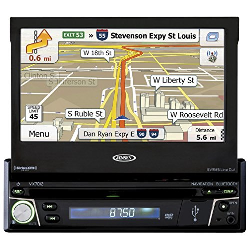 Jensen VX7012 7 inch LCD Multimedia Retractable Touch Screen Single Din Car Stereo with Built-In Bluetooth, CD/DVD Player & USB/microSD Ports by Jensen