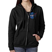 Women Nasa National Aeronautics And Space Administration Logo Hoodie Sweatshirt Black