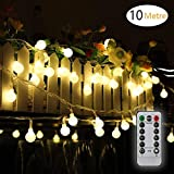 Battery Powered Fairy Lights 33FT/10M 80LED Waterproof Indoor Outdoor String Lights Battery Operated Globe Lights for Party/Garden/Christmas/Patio/Wedding Decor - 8 Modes Remote Controller