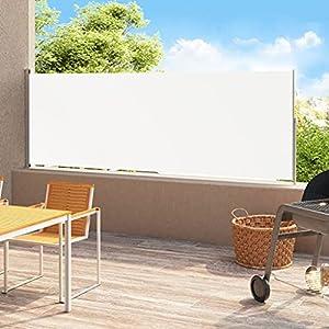 vidaXL Toldo Lateral Retráctil para Patio Separador Terraza Balcón Pantalla Solar Viento Enrollable Función Retroceso Automático Crema 220×500 cm