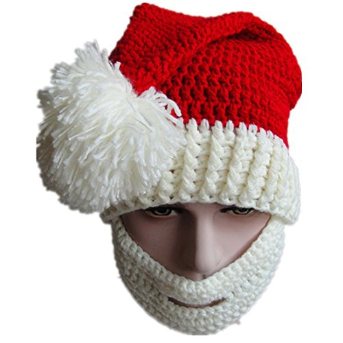 Kafeimali Unisex Christmas Winter Knitted Crochet Beanie Santa Hat with Beard Foldaway Bearded Caps (White)