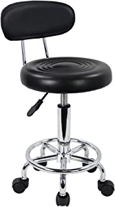 KKTONER PU Leather Modern Rolling Stool with Low Back Height Adjustable Work Salon Drafting Swivel Task Chair with Footrest (Black)