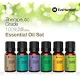 Eve Hansen Essential Oil Gift Set (Sandalwood, Tea Tree, Lavender, Eucalyptus, Lemon, Peppermint) - 100% Pure Therapeutic Grade - 6 Bottles/10ml. Perfect stater pack for aromatheraphy or relaxation.