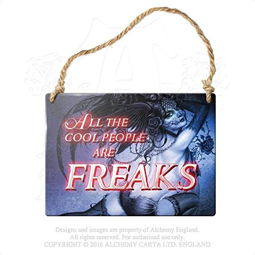 Gift Wrapping Supplies Gothic Victorian Small Hanging Sign All The Cool People Are Freaks