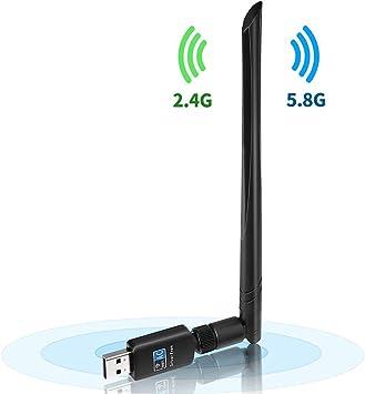 Adaptador WiFi de 600 Mbps de red inalámbrica con antena 5dBi para PC/escritorio, doble banda 2,4 GHz/5,8 GHz tarjeta LAN 802.11ac tarjeta de red, ...