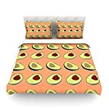 KESS InHouse KESS Original ''Avacado Love''Featherweight Queen Duvet Cover, 88 x 88''