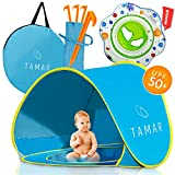 TAMAR 2019 Baby Beach Tent: Toddlers and Tots Blue Pop-Up Sun Shelter with mini Pool and Detachable Shade, Lightweight, 50 SPF UV Protection with Carry Bag And A Bonus Baby Swimming Ring