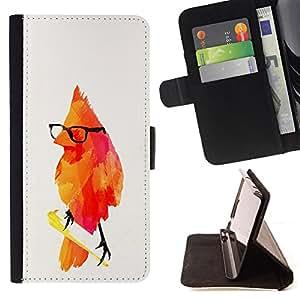 KingStore / Leather Etui en cuir / Sony Xperia Z3 Compact / Pájaro rojo