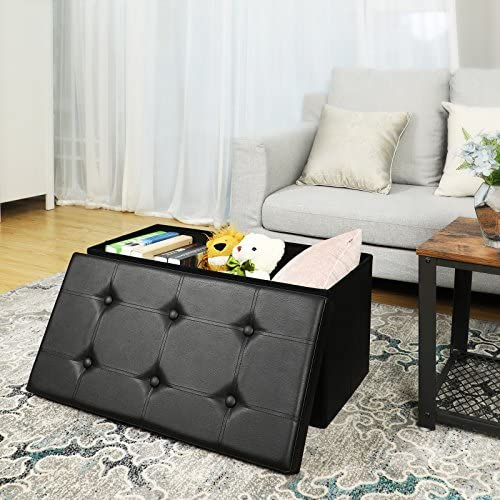 home, kitchen, furniture, accent furniture,  ottomans 12 on sale SONGMICS 30 Inches Faux Leather Folding Storage Ottoman deals