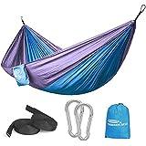 Forbidden Road Hammock Single & Double Camping Portable Parachute Hammock for Outdoor Hiking Travel Backpacking - 210D Nylon Taffeta Hammock Swing (Blue & Purple)