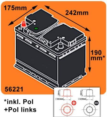 US Autobatterie 62Ah 550A//EN USA Batterie Pluspol Links f/ür US Fahrzeuge PKW KFZ
