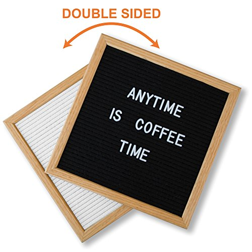 DOUBLED SIDED Black Letter Board White Felt with Stylish Stand and 600 Letters. 10x10inch American Oak Frame Changeable Letter Board. Home, Business, Shop Coffee Sign, Baby Shower Gift Idea & (Black White Letters)