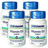 Life Extension Vitamin D3 5000 IU, 60 Softgels – 4-Pak For Sale