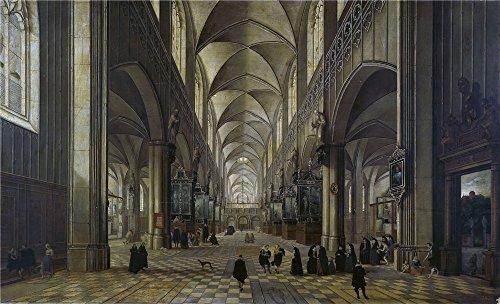 Oil painting ` Neefs Pieter I Iglesia de Flandes la misa 1618`印刷ポリエステルキャンバスに、10x 16インチ/ 25x 42cm、The Bestスタディ装飾、ホームギャラリーアートとギフトはこの高定義アート装飾プリントキャンバスの商品画像