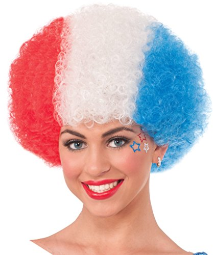 Patriotic Red White Blue Afro Wig USA American July 4 Costume Accessory - Red White And Blue Wig