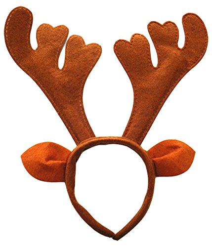 Grazing Halloween Christmas Hair Ornament Plush Reindeer Antlers Headband (Brown with Ears) (Reindeer Adult Costume)