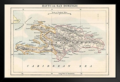 (Haiti and Dominican Republic 1883 Historical Antique Style Map Framed Poster 20x14 inch)
