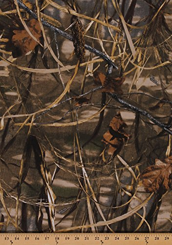 Advantage Camo Fabric (Realtree Advantage Max 4 Slightly Brushed Medium/Heavy Weight Marsh Camouflage Twill Leaves Leaf Branches Twigs Grass Camo Fabric By the Yard (2681i-6N))