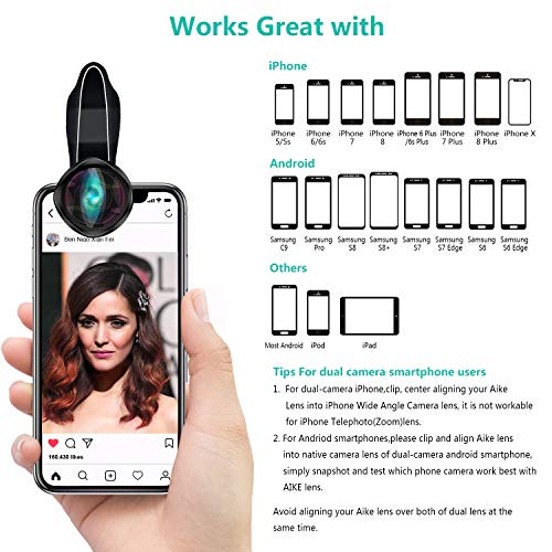 Phone Camera Lens, AiKEGlobal 2 in 1 Macro Lens,Wide Angle Lens, Universal Cell Phone Lens Kit Great Compatible iPhone, Android, iPad and Tablets by AiKEGlobal (Image #7)