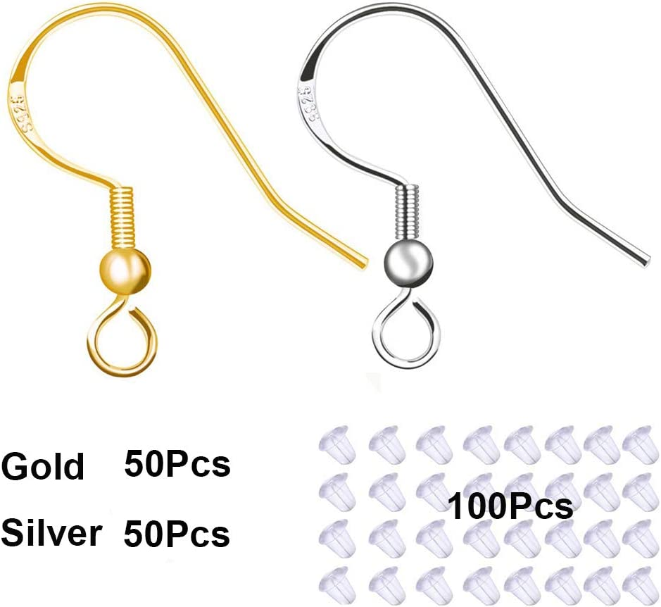 100 PCS Gold Earring Hooks Hypoallergenic Stainless Steel Earrings Fish Hooks with 100 PCS Clear Rubber Earring Backs for Jewelry Making DIY