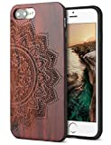 YFWOOD for iPhone 7 Plus Wood Case/iPhone 8 Plus Case,Wood Engraving Floral Shock Absorbing Hybrid Full Protective Case Compatible with iPhone 7 Plus/iPhone 8 Plus