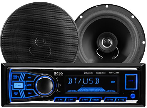 BOSS Audio 638BCK Car Stereo Package  Single Din Bluetooth No CDDVD MP3USBWMA AMFM Radio 65quot 2 Way Full Range Speakers