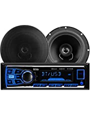 """BOSS Audio Systems 638BCK Car Stereo Package - Single Din, Bluetooth, (No CD/DVD) MP3/USB/WMA AM/FM Radio, 6.5"""" 2 Way Full Range Speakers"""
