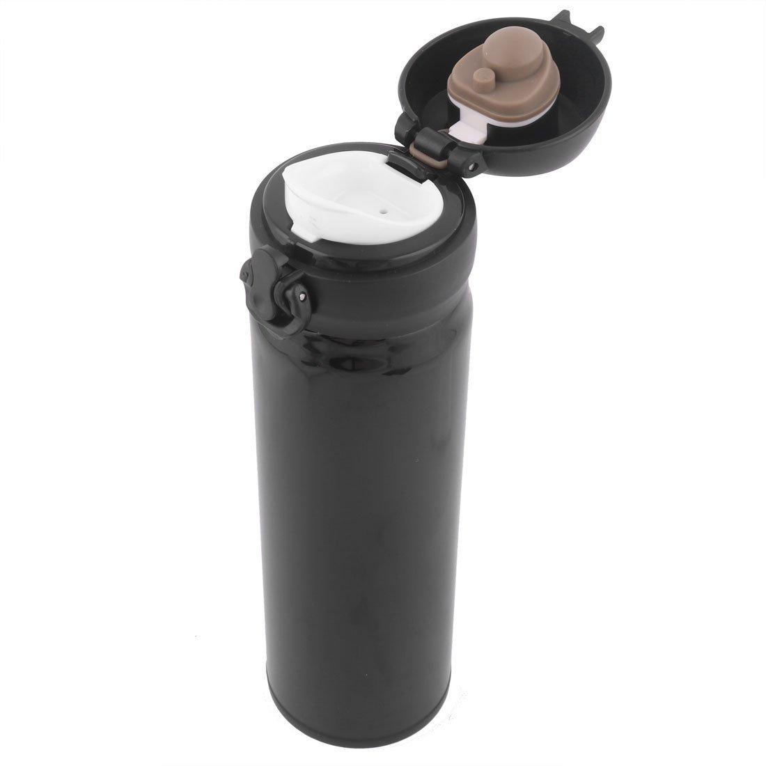 Té eDealMax acero inoxidable al aire libre casero Agua Café botella termo de la taza de 500 ml Negro