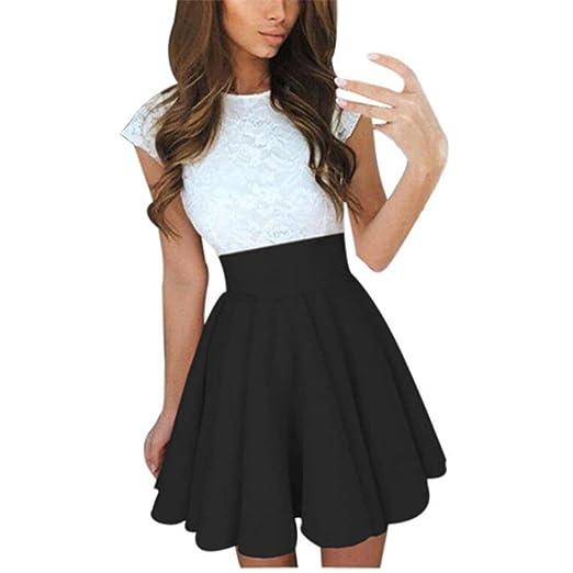 f4672be1af KMG Kimloog Womens Lace Party Cocktail Mini Dress Summer Short Sleeve  Skater Short Dresses (S