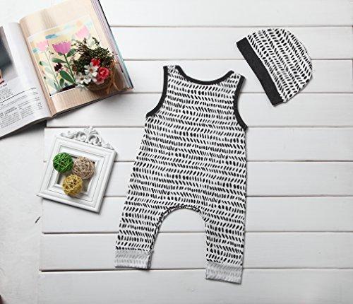 Baby Boy Girls Sleeveless Button Harem Romper Jumpsuit + Hat