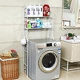 Iron Shelf Shelf Bathroom Washing Machine Shelf Balcony Floor Type Toilet Storage Rack-2 Layer ( Color : White )